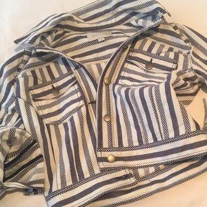 Hinge striped Denim jacket. NWOT.